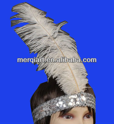 Hot sell LADIES WHITE SEQUIN FEATHER HEADBAND ROARING 20'S CHARLESTON FLAPPER COSTUME