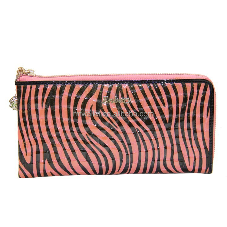 hot sel OEM and ODM zebra printing zipper around women wallet purse