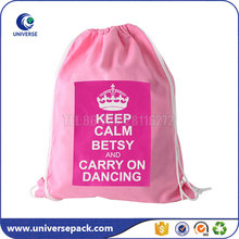Eco cute pink cotton drawstring bags backpack with printing