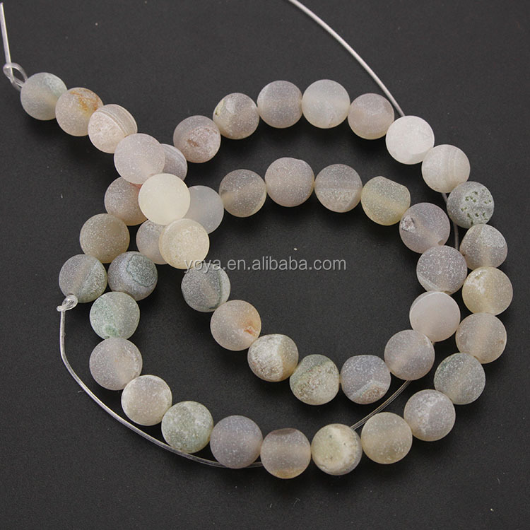 AB0201 Hot sale grey geode druzy agate stone beads,semi precious frosted agate beads for jewelry making