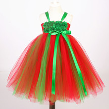 Girl Red and Green Flower Tutu Dress Girl Christmas Party Dress Santa Tutu Costume for Kids