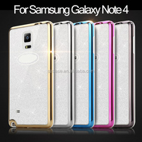 UV Glitter diamond Case for Samsung Galaxy Note 4 tpu plating phone case for samsung galaxy note 4