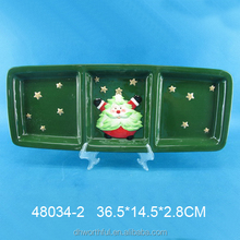 Wholesale green ceramic section plate with golden stars and santa claus design