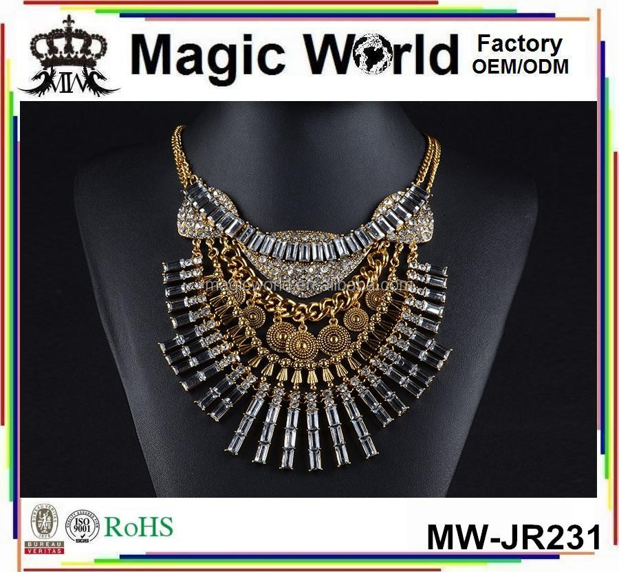 2017 Luxury Tassels Egyptian Diamond Bling Gold Statement Necklace