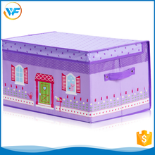 Non Woven Decoration Paper File Pretty Storage Box For Girl