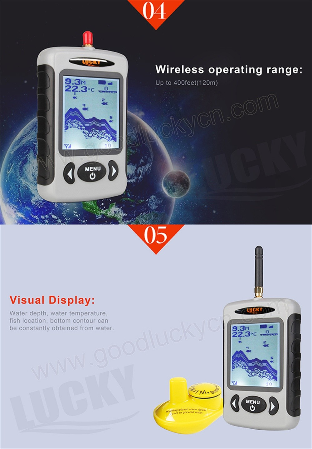 Lucky FFW718 Wireless Portable Fish Finder 45M/135FT Sonar Depth Sounder Alarm Ocean River Lake