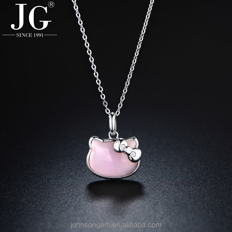 Wholesale Hello Kitty Pendant <strong>Jewelry</strong>, 925 Sterling Silver Bowknot Princess Cat Design Pink Quartz Crystal Charm Necklace