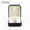 FANXI China Wholesale Custom Black Leather Jewellery Boxes With Led For Gift Jewelry Pendant Box