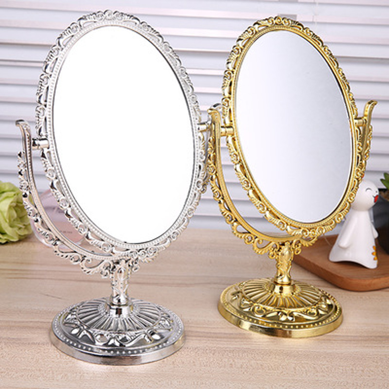 Women Oval Shape Make Up Mirror Double Dual Side Rotating Cosmetic Desk Stand Table Mirror Makeup Compact Mirror