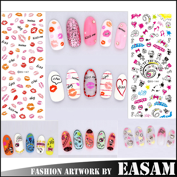 Cute lip design water nail decals stickers for art nail,nail stickers & decals