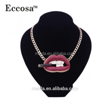 Fashion made in china unique jewelry, lip with a cigarette necklace designs custom necklace