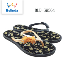 wholesale custom fancy black shoes rubber printing flip flop for women