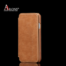 Premium wallet opening top grain cow leather case for iphone 6 leather case