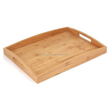 Hot sale high quality snacking bamboo tea food tray with handle