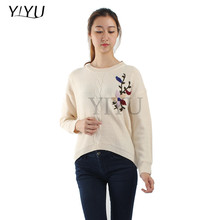 fashion design autumn womens handmade embroidery knitted pullover