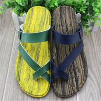2015 PU wood stripe PU men arab sandals