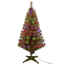 Hot Selling 4ft Champagne Tinsel Mixed christmas trees fiber optic lowes