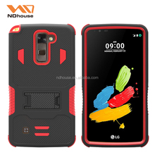 Low MOQ have stock dual layer armor combo case defender cover with kickstand for LG stylo2 plus
