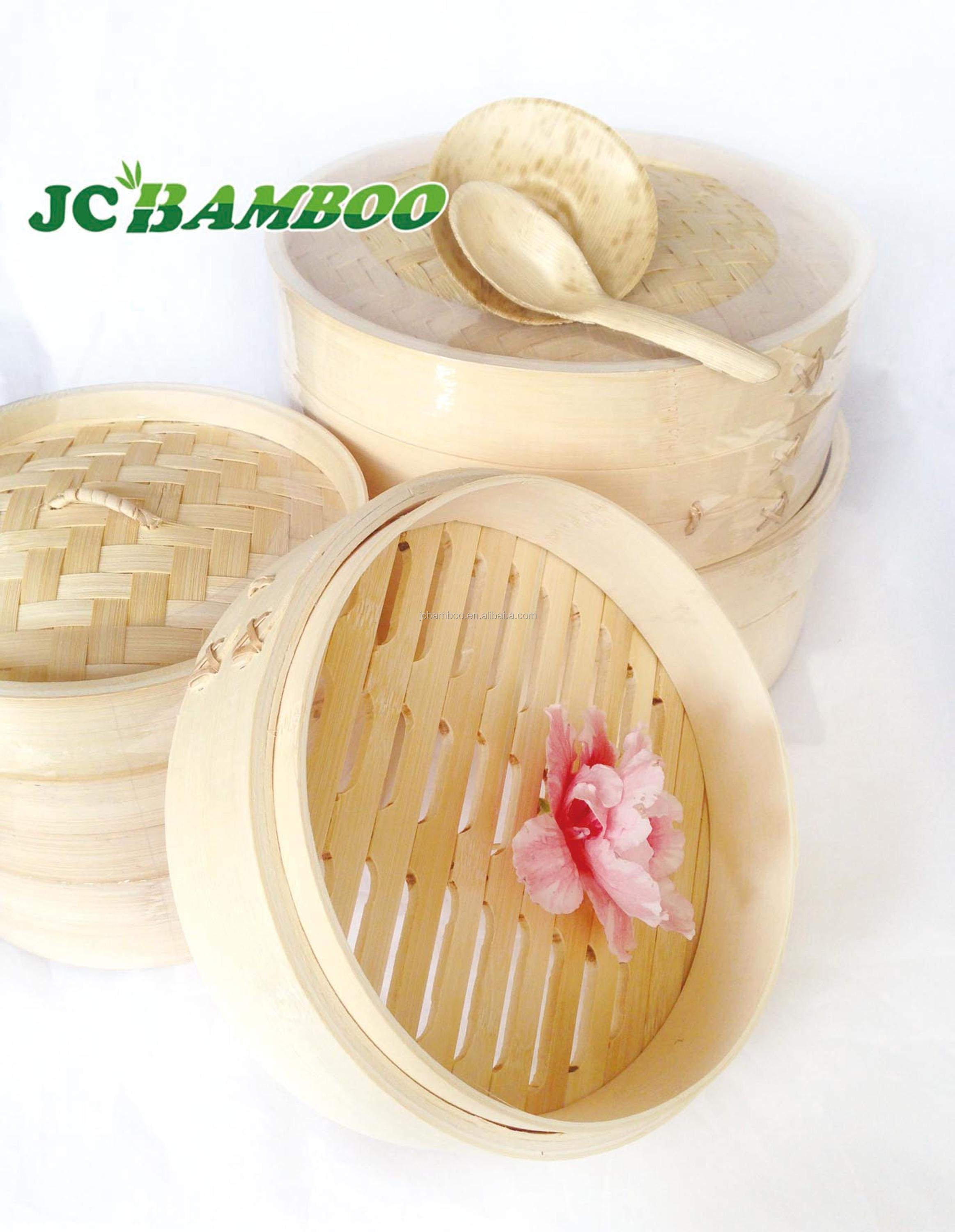 Custom personalized top grade Factory price 18cm bamboo steamer for vegetarian