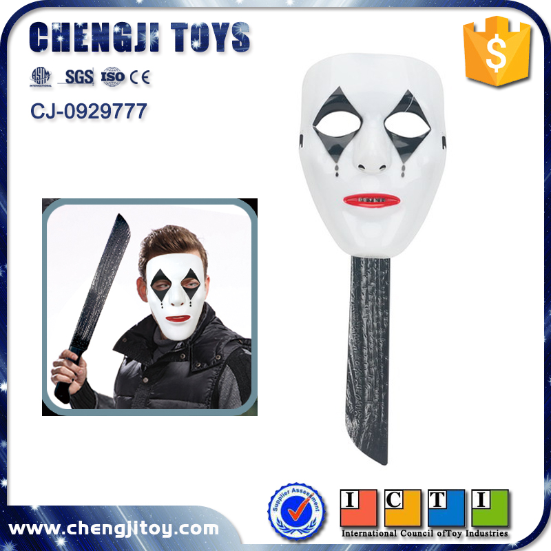 Wholesale party toy terrorist plastic halloween mask with knife