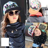 Wholesale Flower Printed Letter Merica Embroideried Children Girls Flat Caps & Hats