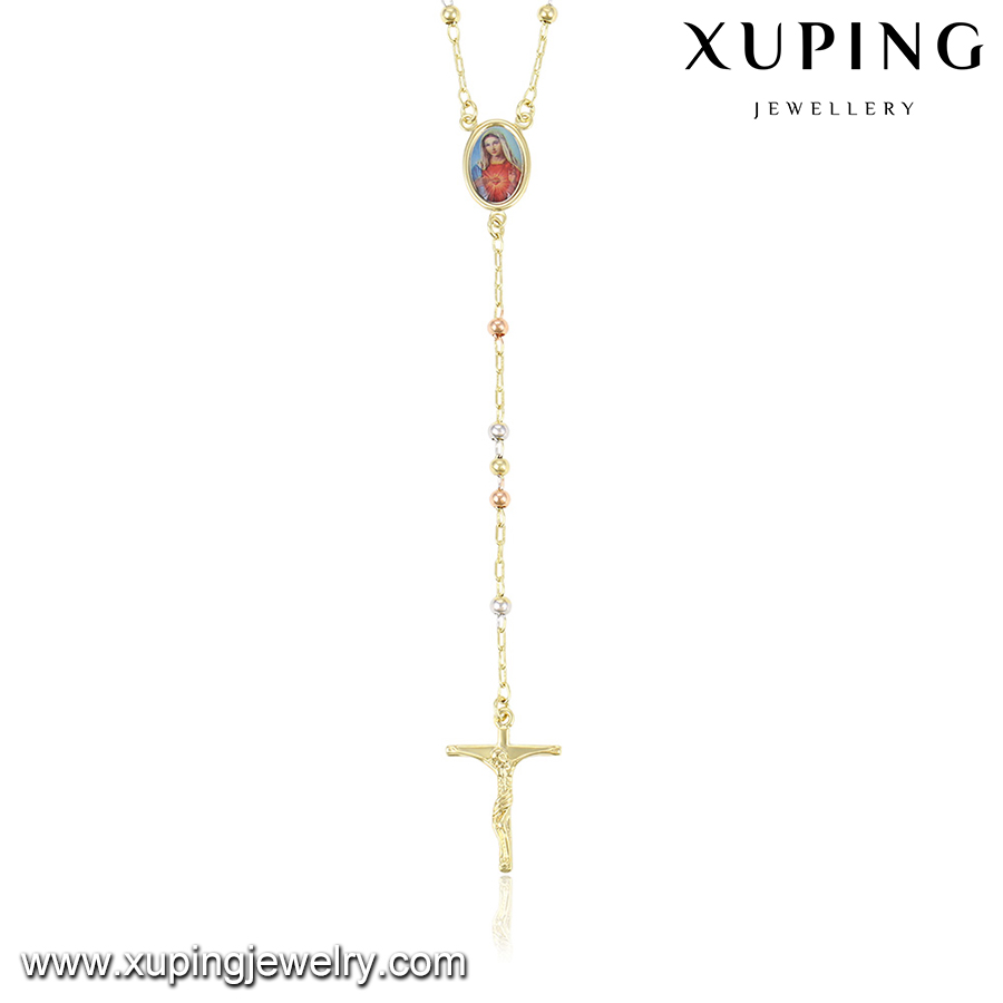 Wholesale gold plated jesus cross pendant necklace