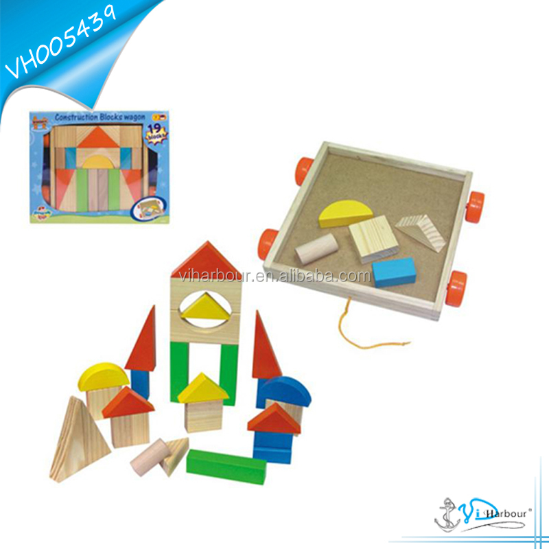 Educational Toy Wooden intellect building block set with a pull car