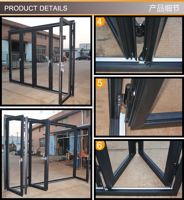 Double glazed aluminum profile folding door,glass bi folding aluminum door.aluminum glass folding door