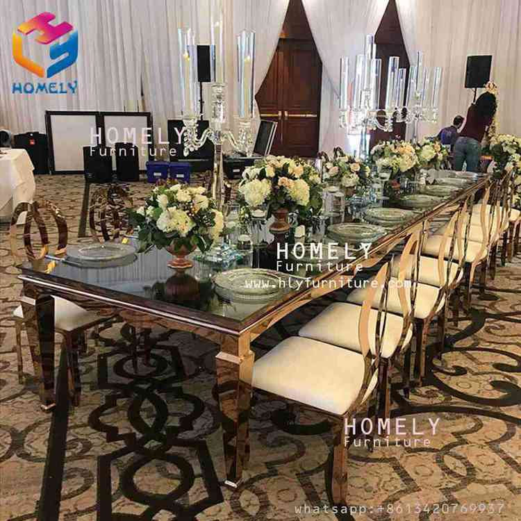 modern design gold metal rectangle black tempered glass top crystal wedding party stainless steel dinning table