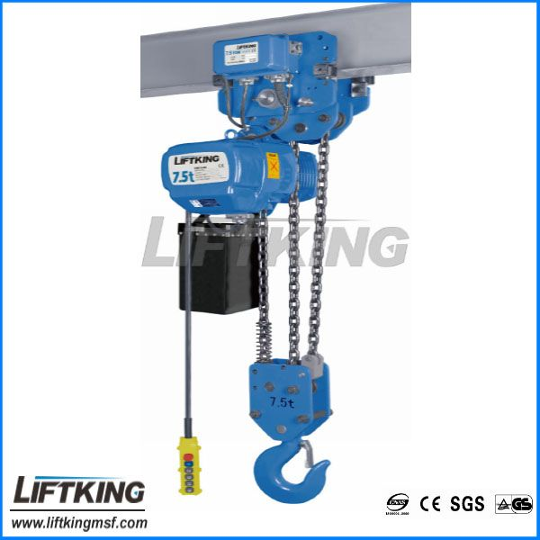 7.5ton double speed material lifting hoist with electric trolley /3 fall chains