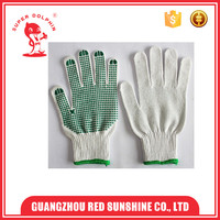 Green single side PVC dotted cotton Knitting gloves