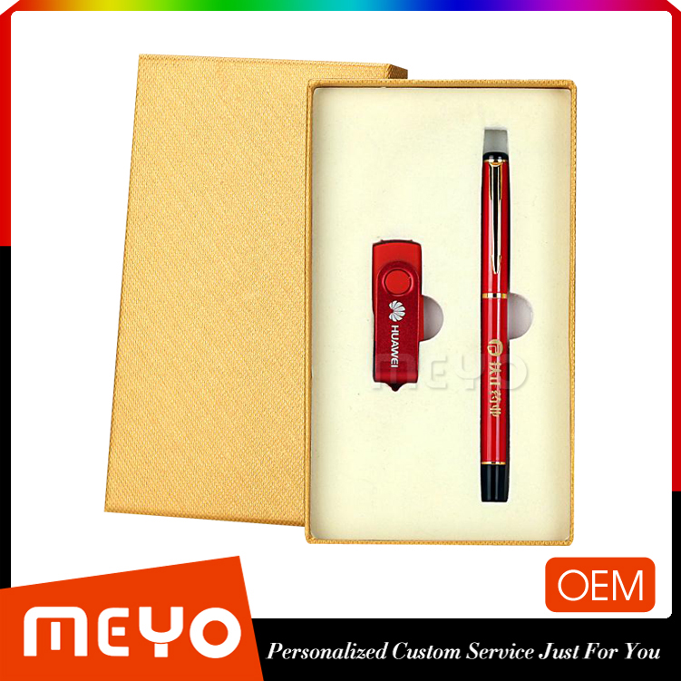 Golen business leopard printed ball point pen and 360 rotation flash drive gift set