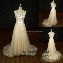Designer New Dazzling eastern champagne beaded sleeveless cocktail long jersey party dresses latest dress party dress