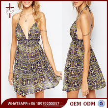 China apparel manufacturer women summer floral beach dress pattern