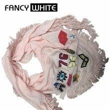 No minimum neck tassel shawls custom embroidery polyester patches women scarf