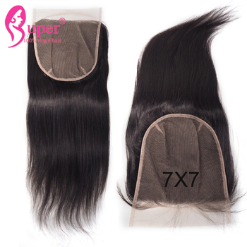 7x7 Swiss Lace Frontal Closure Free Part Silky Straight Virgin Human Hair New Style Products
