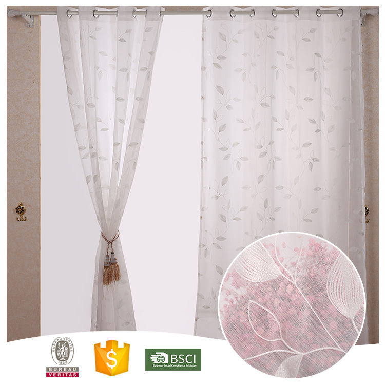 2017 Leaves PY1704 100% Poly High Quality Embroidered Sheer Curtain
