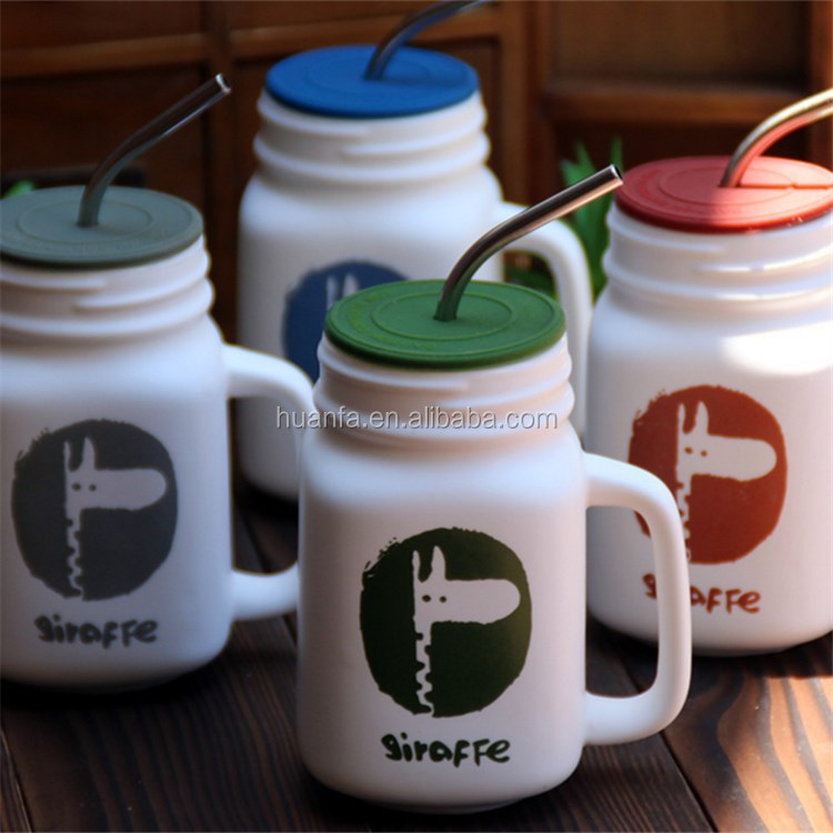 Promotional items of accept OEM custom private label colorful ceramic mason jar/coffee mug with stainless steel drinking straw