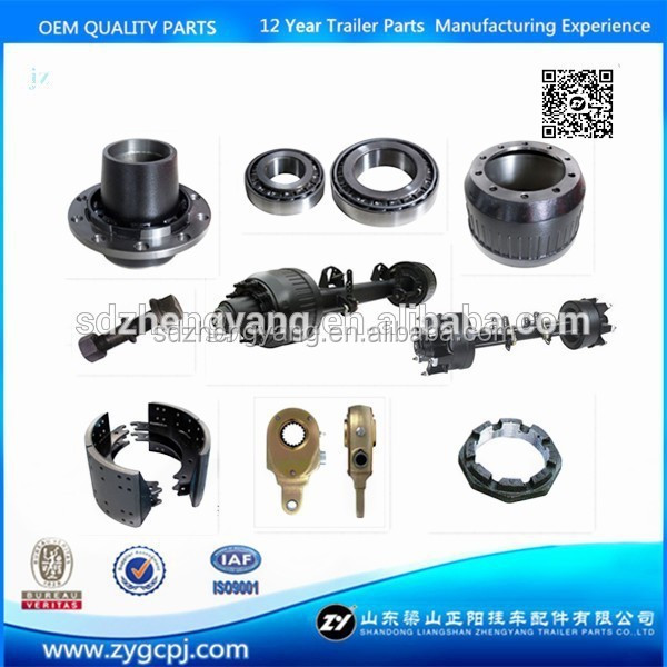 Semi trailer truck trailer axle spare parts from china Brake drum Bearing Axle tube