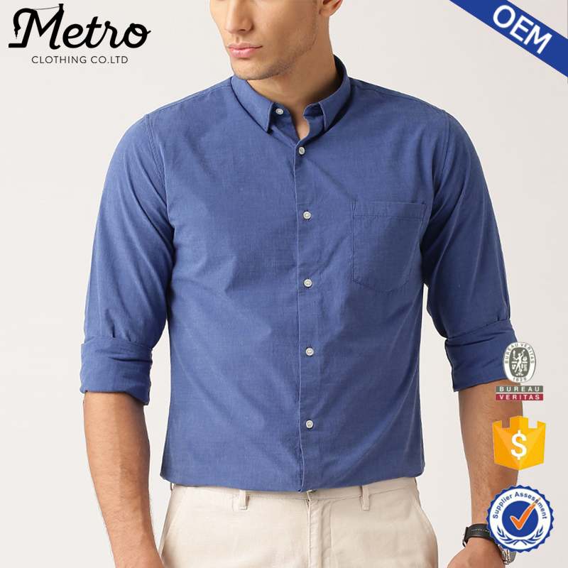 Men Spread Collar Blue Slim Fit Casual Shirt with Patch Pocket
