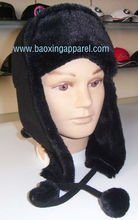 Faux Fake Fur Trooper Trapper Ski Pom poms Hat