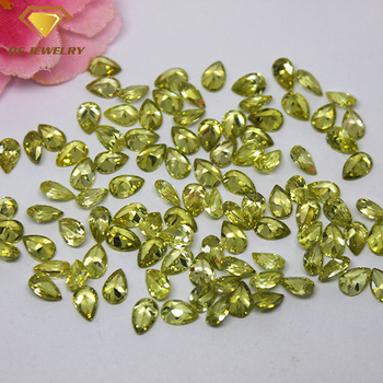synthetic peridot gemstone machine cut pear cz stone
