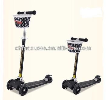 New style hot sale big mini folding 4 wheel kick scooter with basket