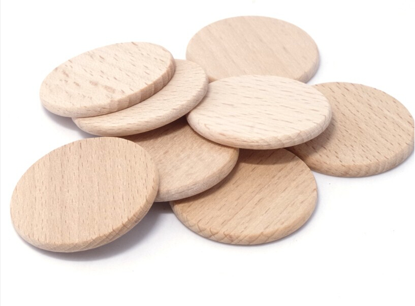 Natural Beech Wood Flat Round Coin Natural Wood Discs 1.5""