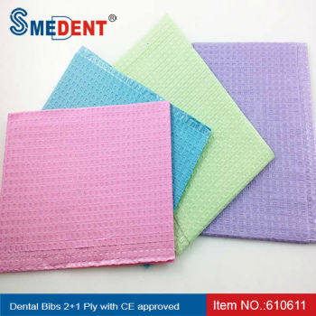 Disposable Patient Dental Bibs 2+1 Ply with CE approved