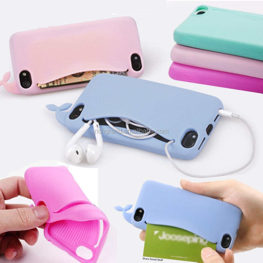 Card Holder Soft Silicone Back Case Cover Cute Big Mouth Whale for iPhone 4 5 6 6s