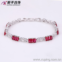 Xuping Luxury Jewelry Rhodium Colour Charm Bracelets With High Quality Colourful Zircon