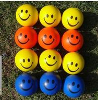 12pcs/Lot Fun Stress Ball Lovetly Smile Face Print Squeeze Foam Hand Wrist Exercise Ball PU Rubber Baby Toy Balls