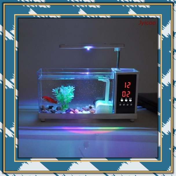 hot sale JYX 2014A-1 multi functional USB mini aquarium and fish tank fish bowl with artificial water plants