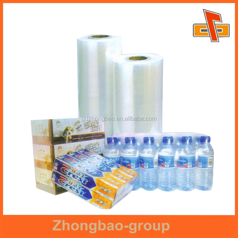 Guangdong China factory Made Plastic PET/PVC/PE/POF Custom Packaging shrink film on roll for sealing food and beverage